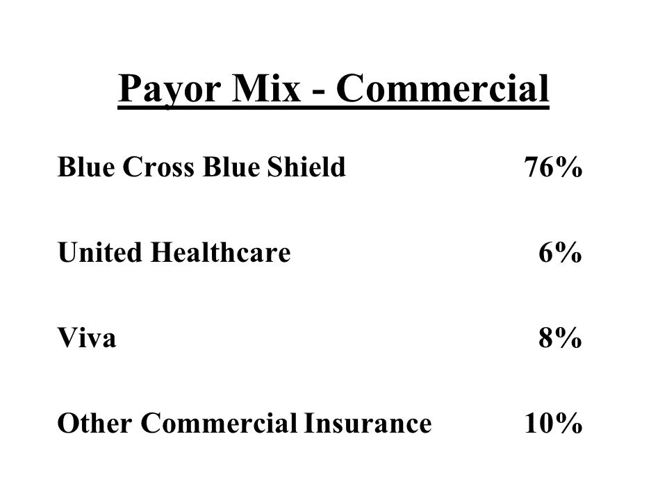 Payor Mix - Commercial Blue Cross Blue Shield 76% United Healthcare 6%