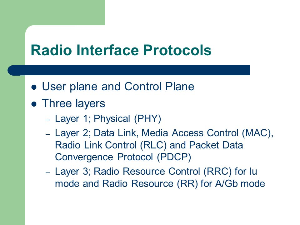 Radio Interface Protocols