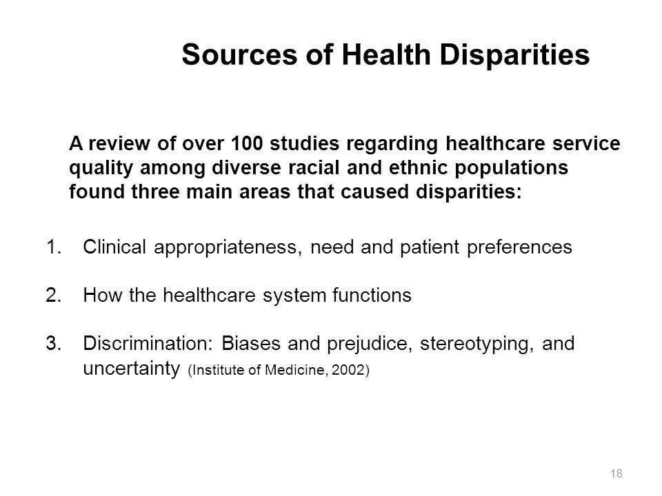 Sources of Health Disparities