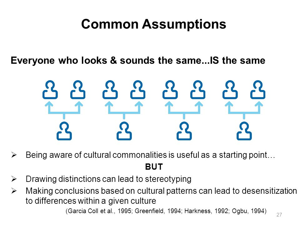 Common Assumptions Everyone who looks & sounds the same...IS the same