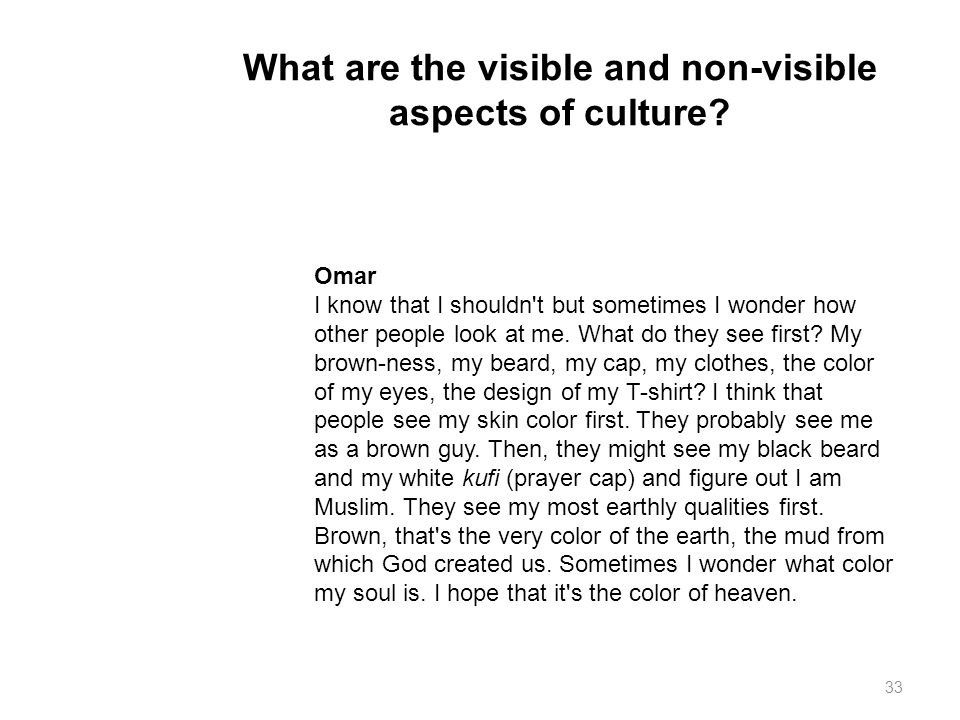 What are the visible and non-visible aspects of culture