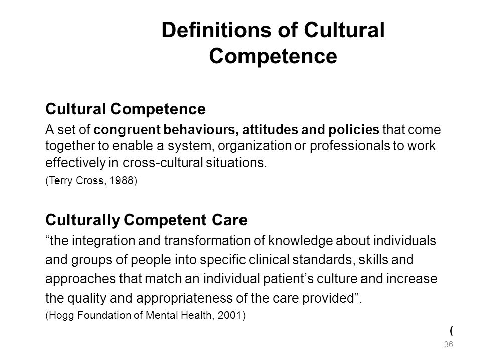 Definitions of Cultural Competence