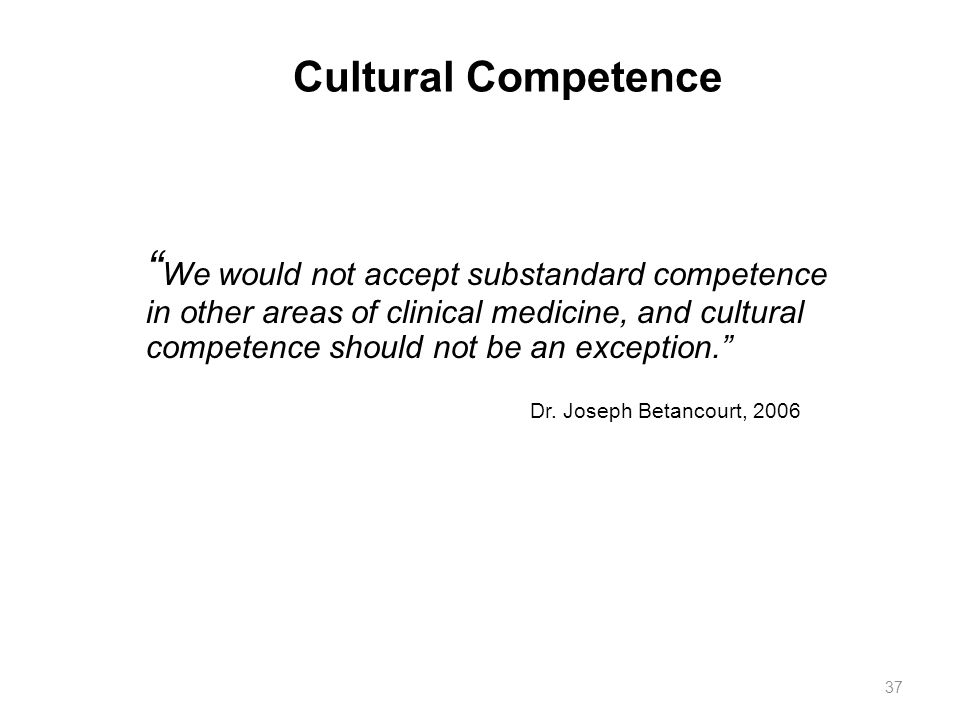 Cultural Competence 37.