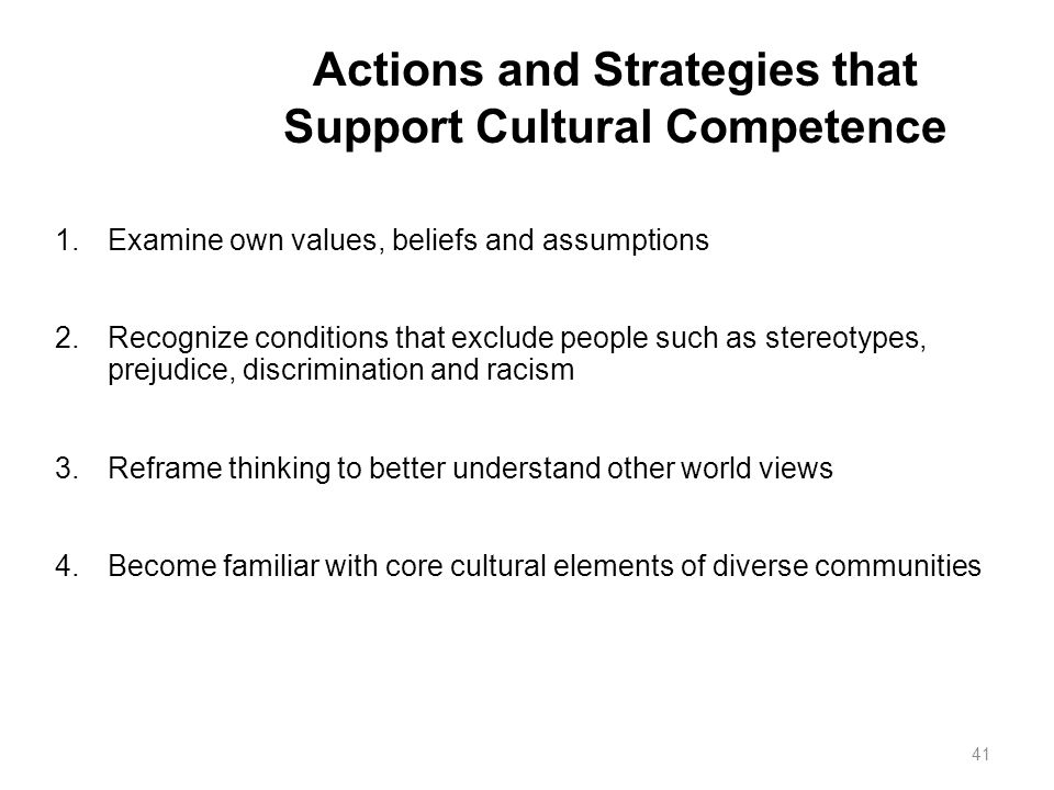 Actions and Strategies that Support Cultural Competence
