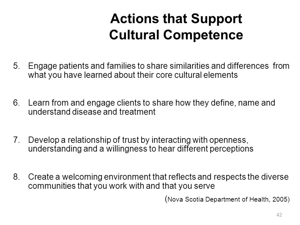 Actions that Support Cultural Competence