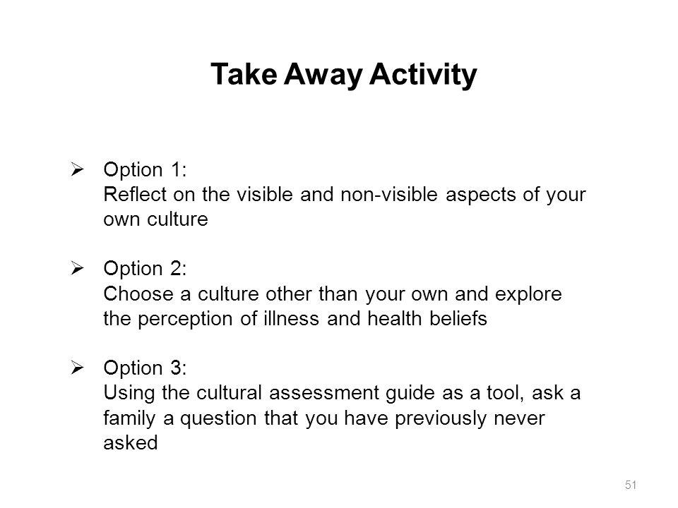 Take Away Activity Option 1: