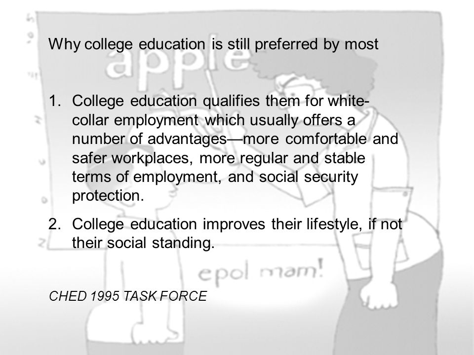 Why college education is still preferred by most