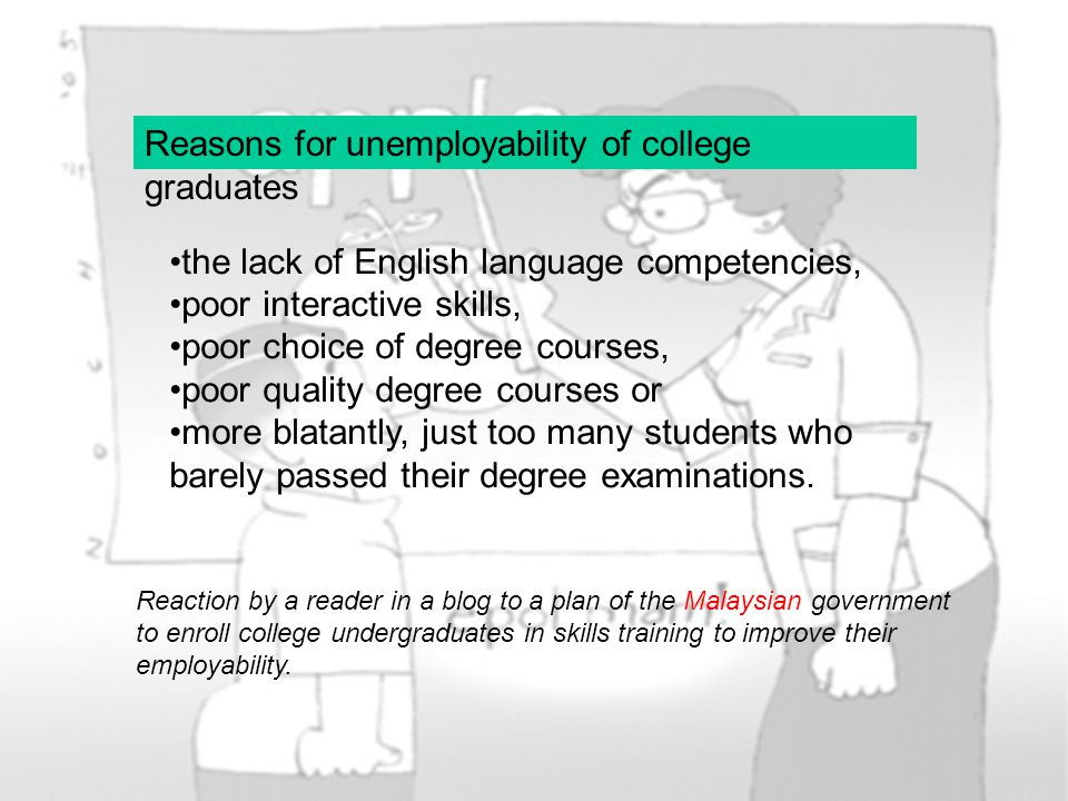 Reasons for unemployability of college graduates