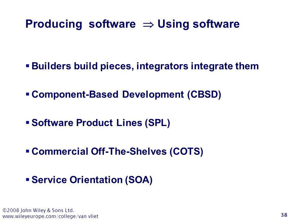 Producing software  Using software