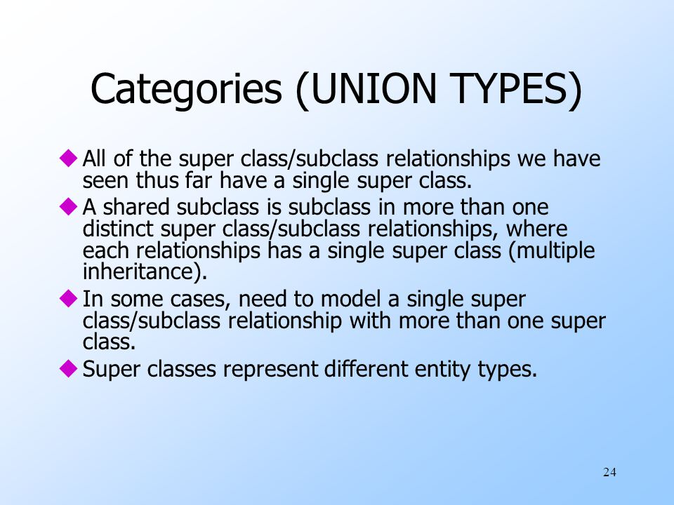 Categories (UNION TYPES)