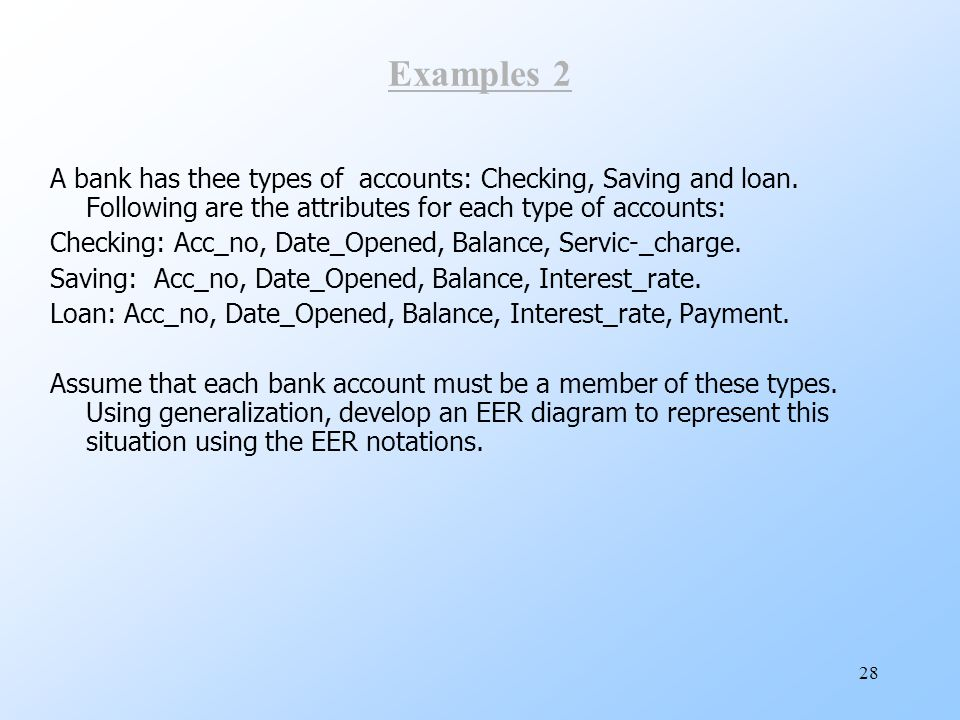 Examples 2 A bank has thee types of accounts: Checking, Saving and loan. Following are the attributes for each type of accounts: