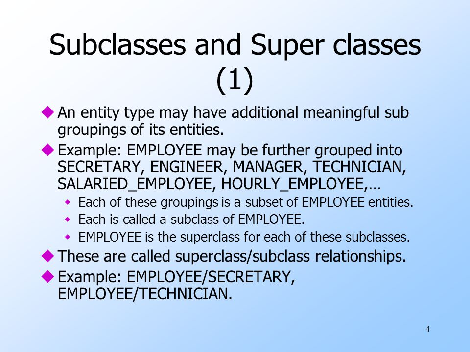 Subclasses and Super classes (1)