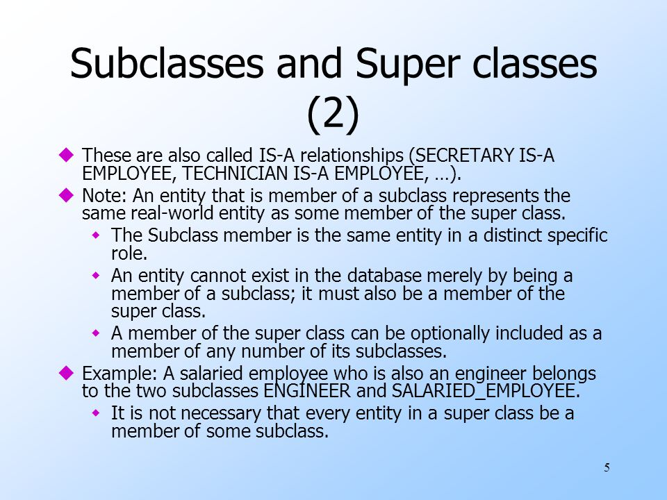 Subclasses and Super classes (2)