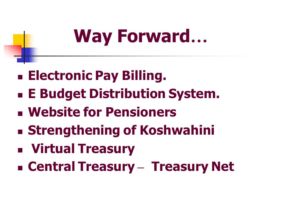 Way Forward… Electronic Pay Billing. E Budget Distribution System.
