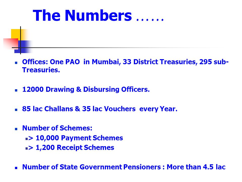 The Numbers …… Offices: One PAO in Mumbai, 33 District Treasuries, 295 sub-Treasuries. 12000 Drawing & Disbursing Officers.