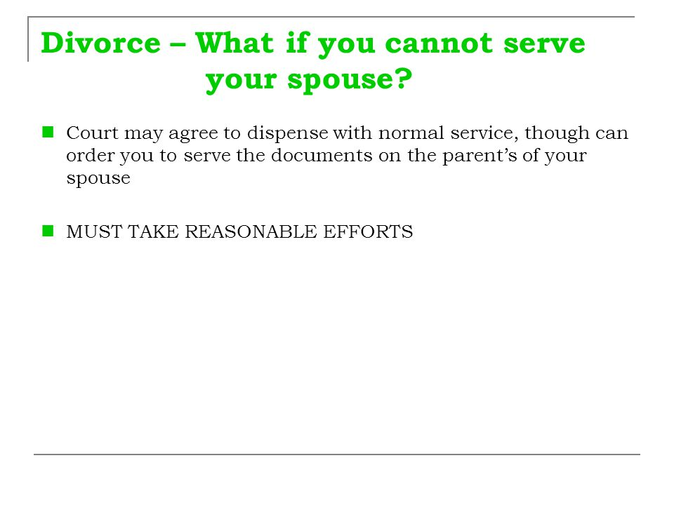 Divorce – What if you cannot serve your spouse