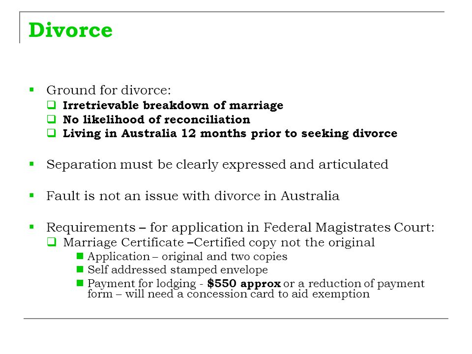Divorce Ground for divorce: