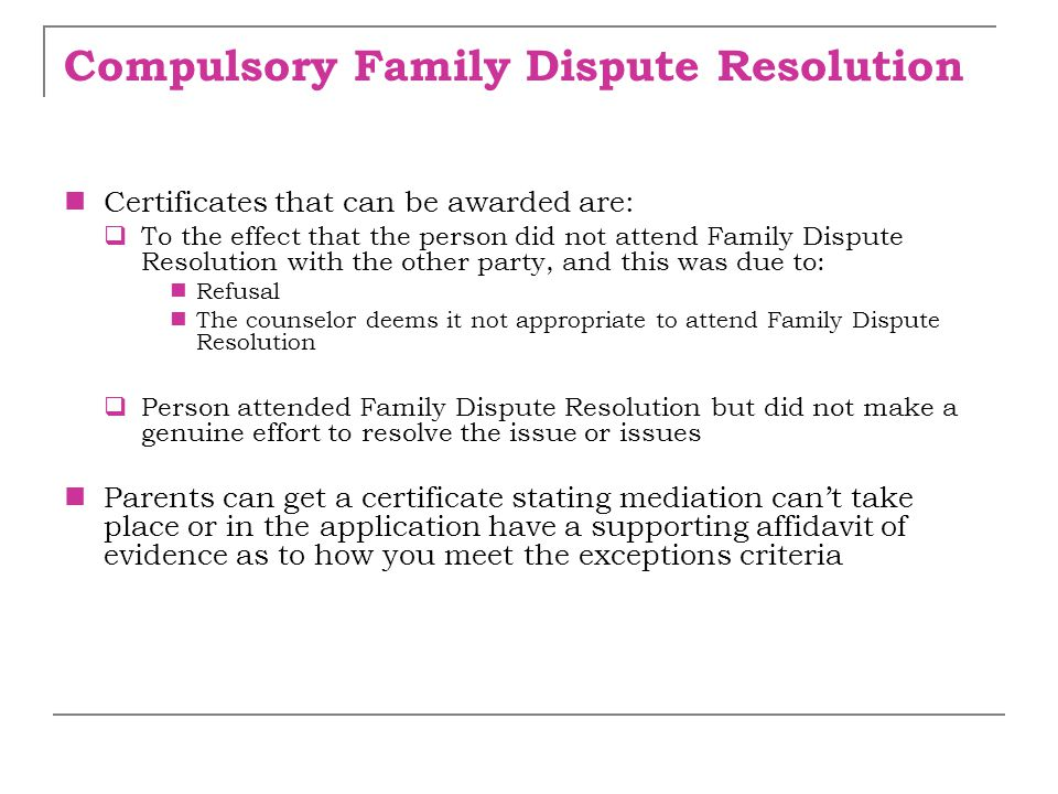 Compulsory Family Dispute Resolution
