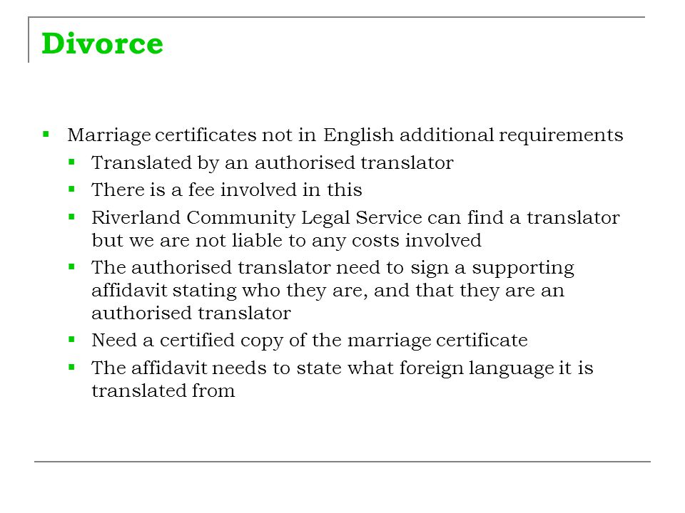 Divorce Marriage certificates not in English additional requirements