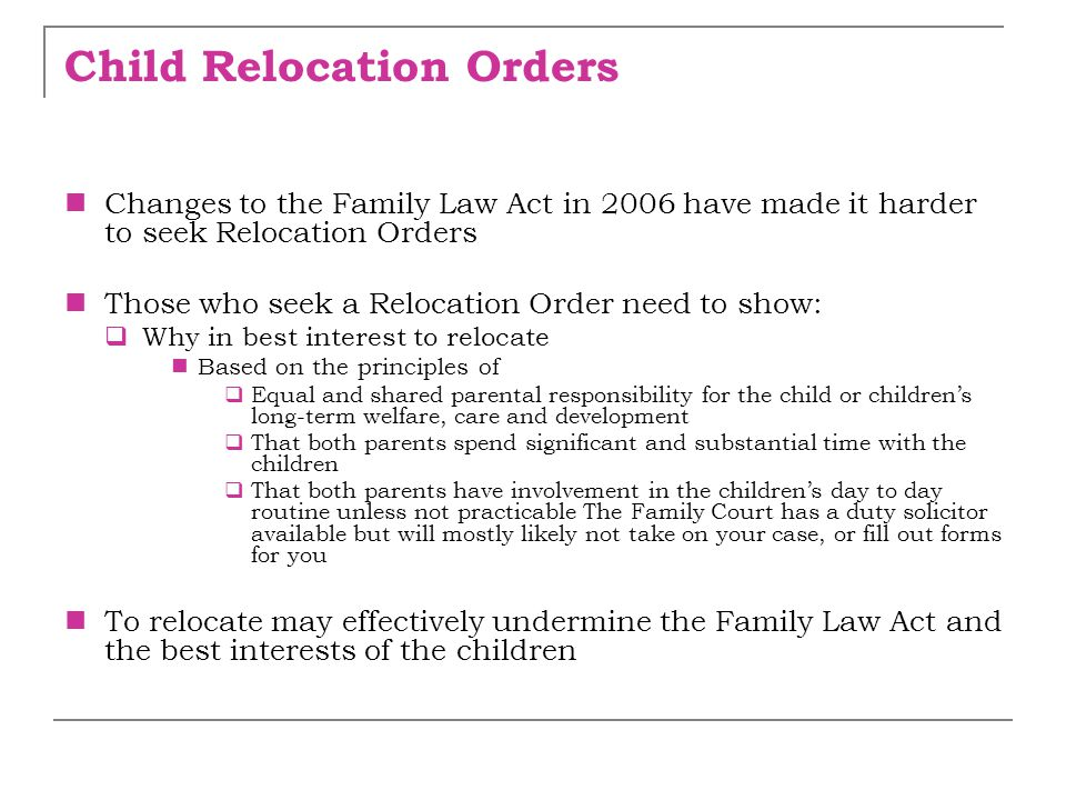 Child Relocation Orders