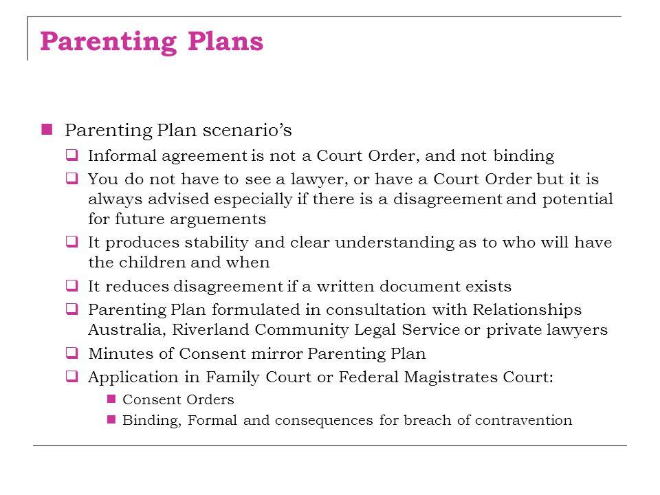 Parenting Plans Parenting Plan scenario's