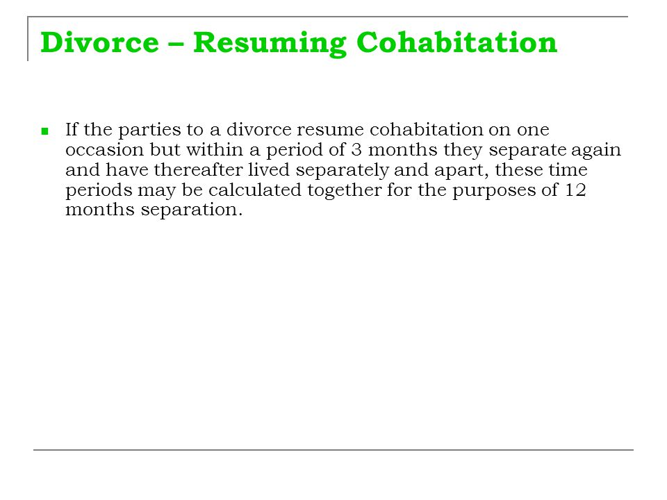 Divorce – Resuming Cohabitation