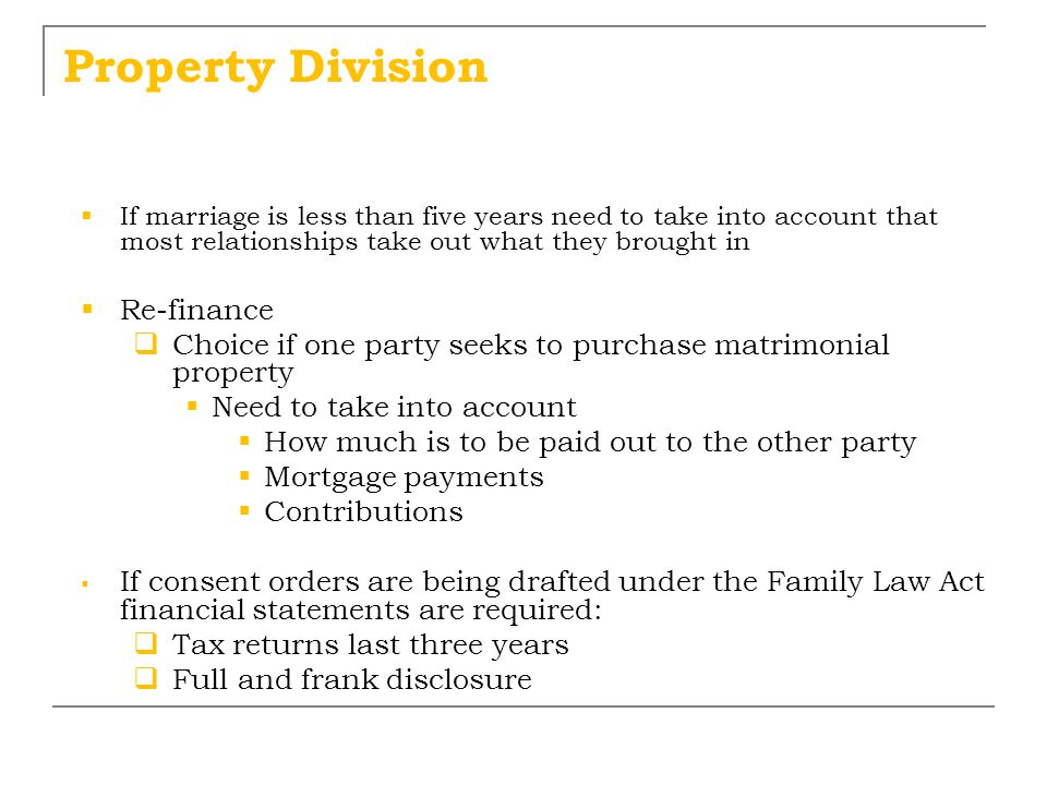 Property Division Re-finance