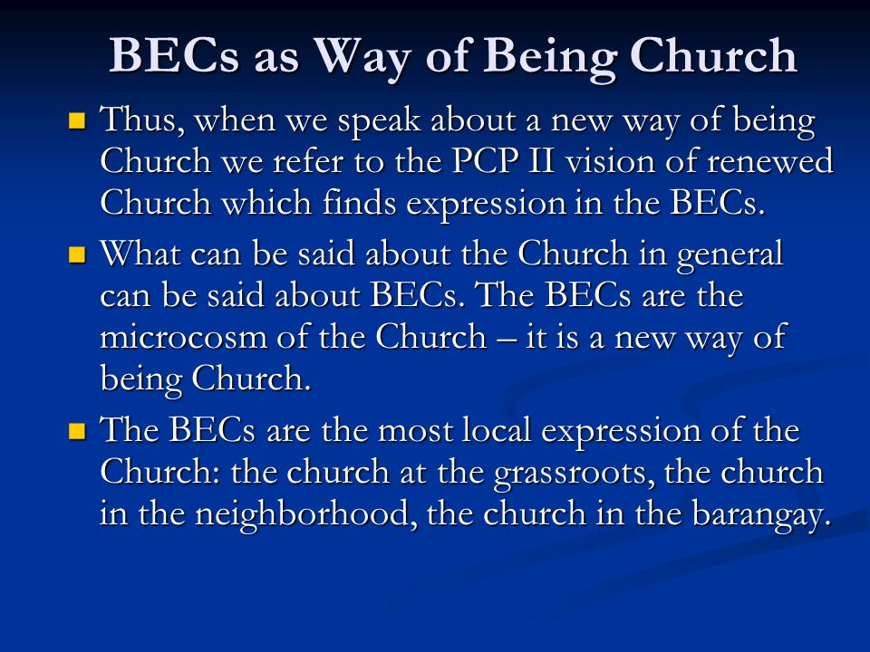 BECs as Way of Being Church