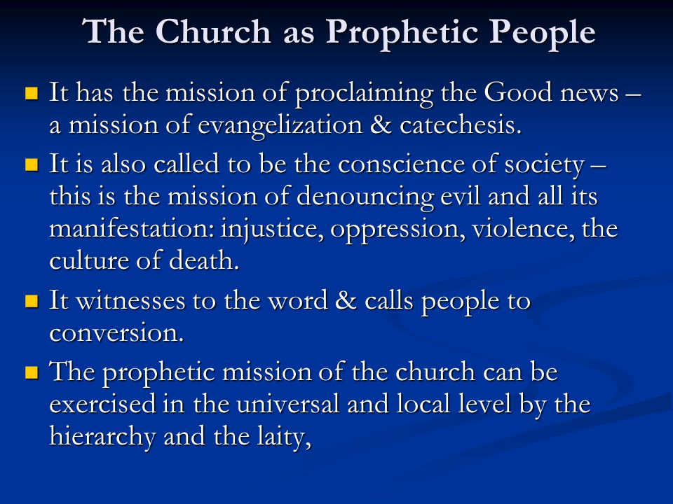 The Church as Prophetic People