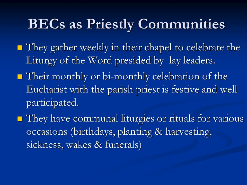 BECs as Priestly Communities