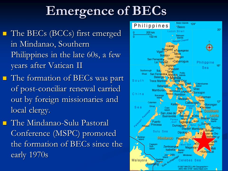 Emergence of BECs The BECs (BCCs) first emerged in Mindanao, Southern Philippines in the late 60s, a few years after Vatican II.