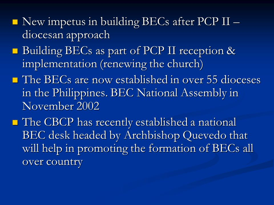 New impetus in building BECs after PCP II – diocesan approach