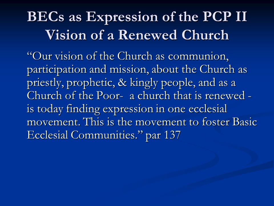BECs as Expression of the PCP II Vision of a Renewed Church