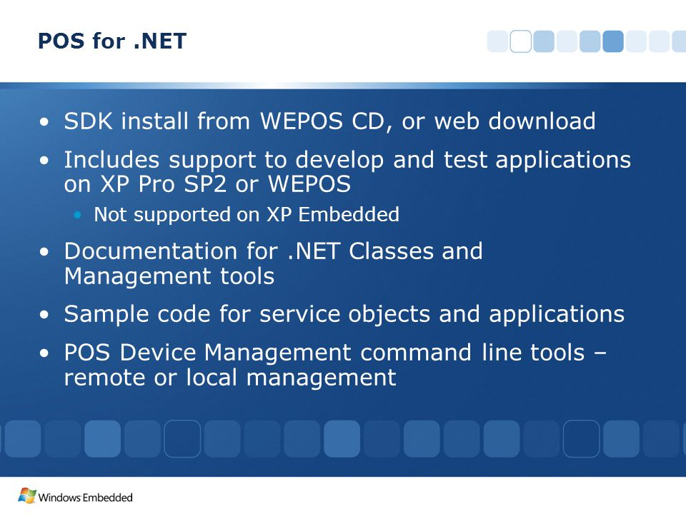 SDK install from WEPOS CD, or web download