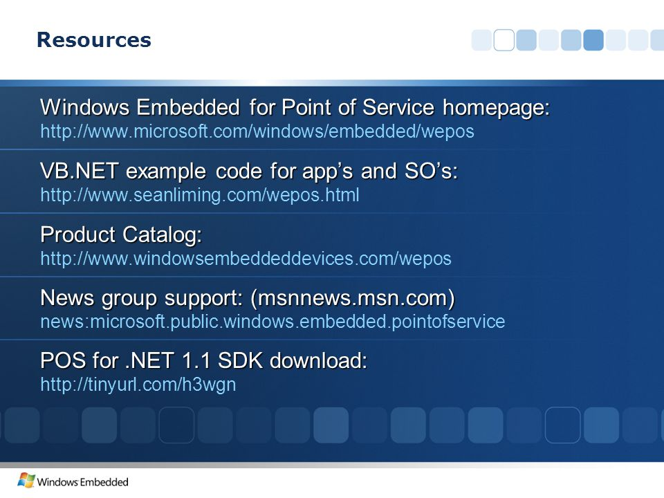 Windows Embedded for Point of Service homepage: