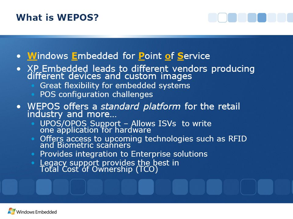 Windows Embedded for Point of Service