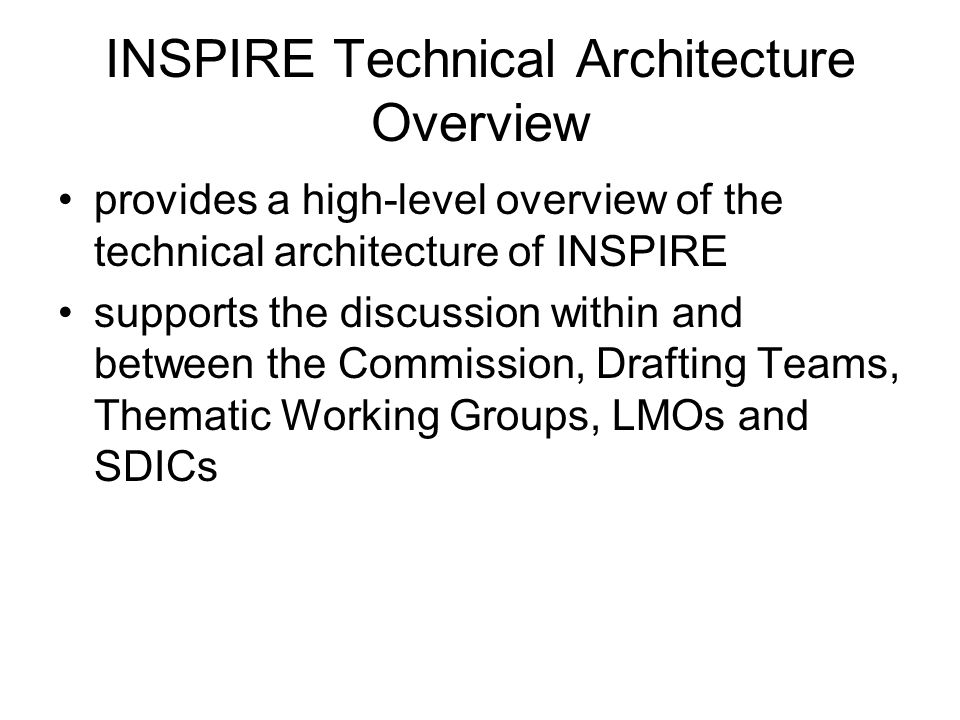 INSPIRE Technical Architecture Overview