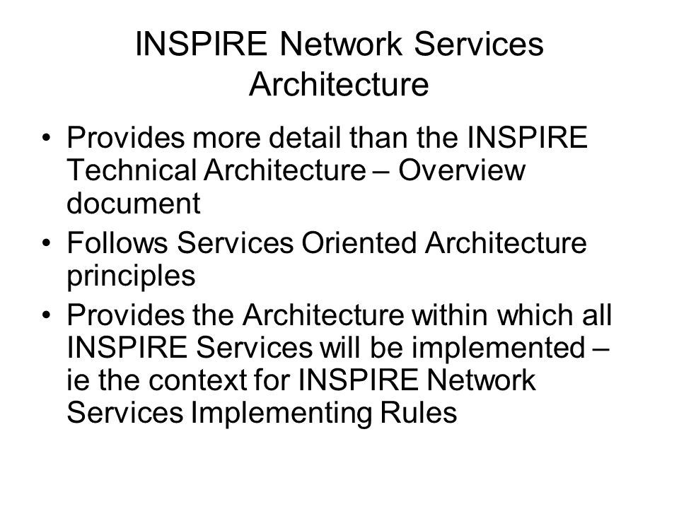 INSPIRE Network Services Architecture