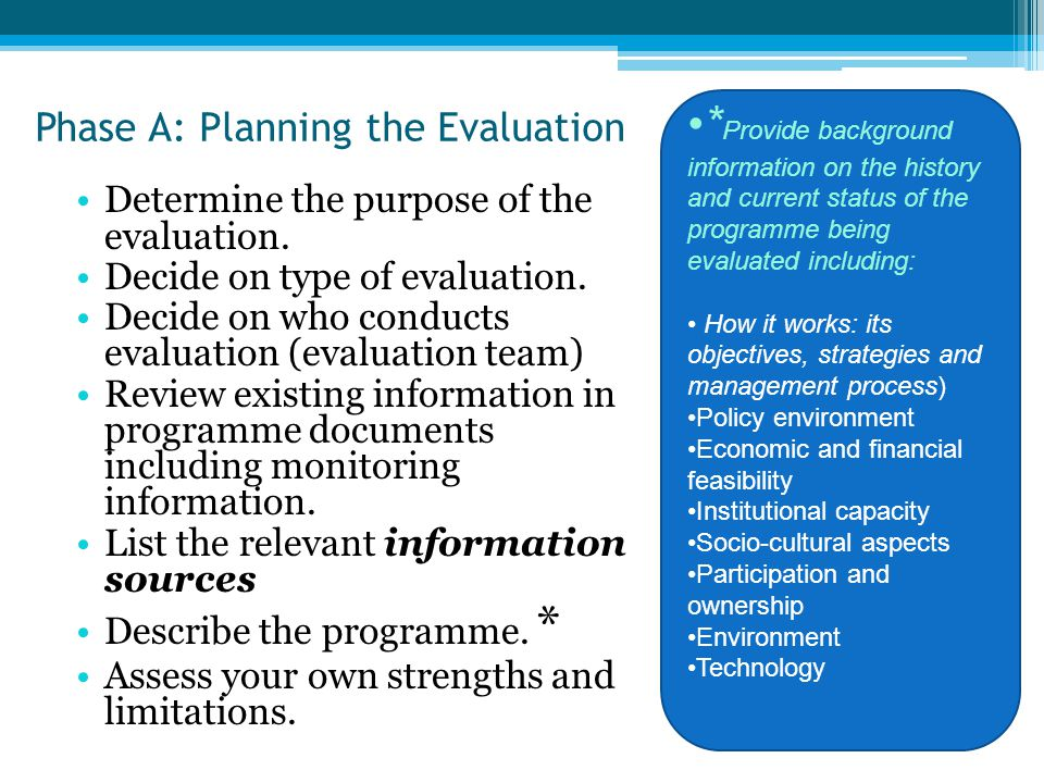 Phase A: Planning the Evaluation