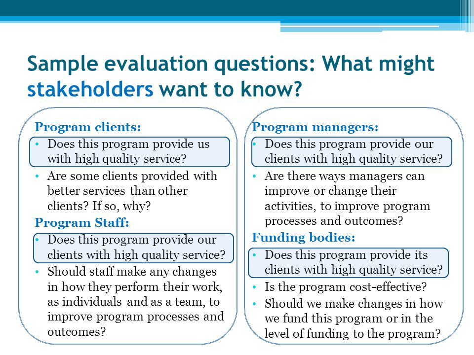 Sample evaluation questions: What might stakeholders want to know