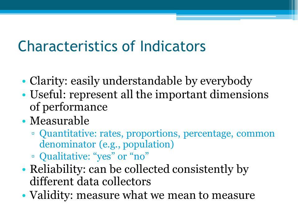 Characteristics of Indicators