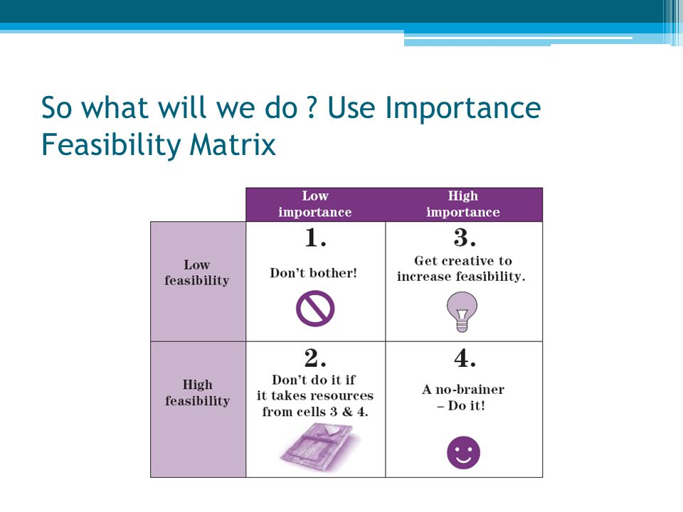 So what will we do Use Importance Feasibility Matrix