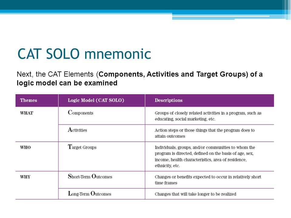 CAT SOLO mnemonic Next, the CAT Elements (Components, Activities and Target Groups) of a logic model can be examined.