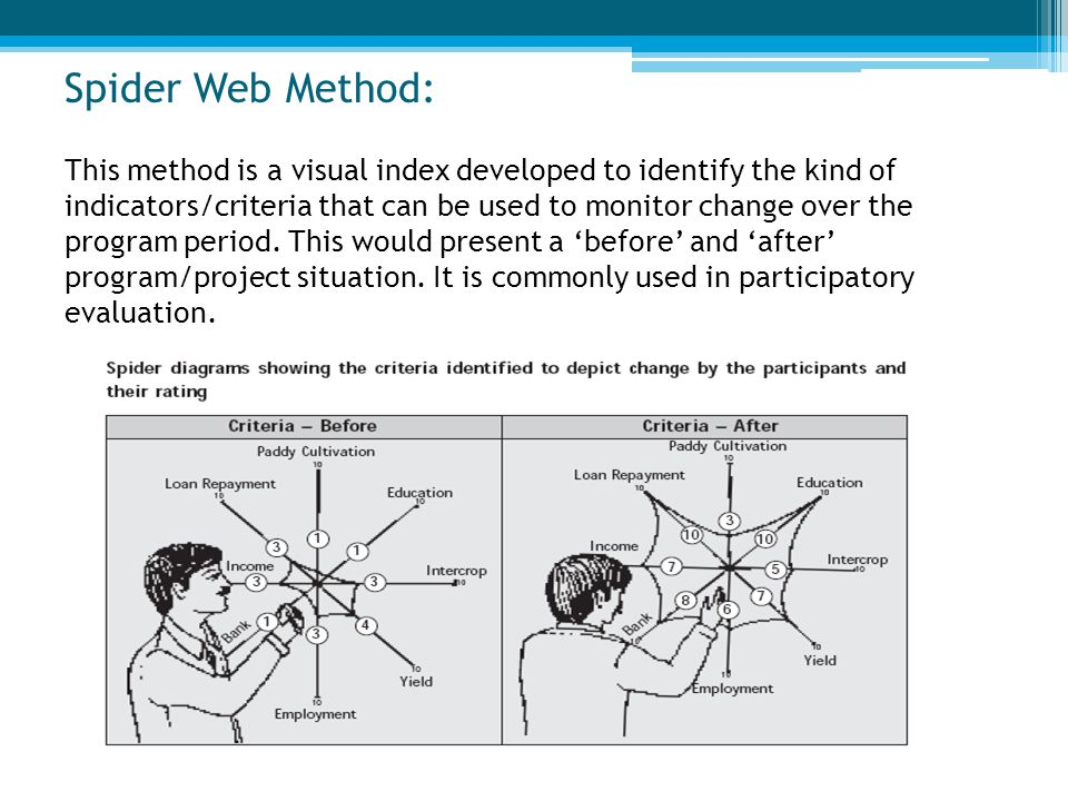 Spider Web Method: This method is a visual index developed to identify the kind of indicators/criteria that can be used to monitor change over the program period.