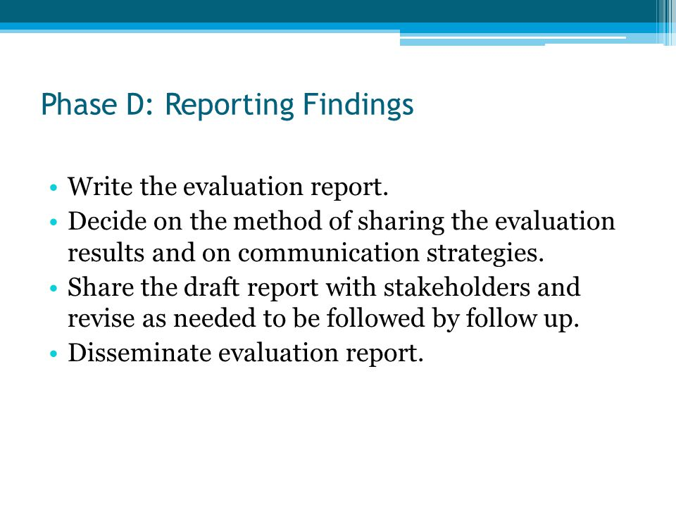 Phase D: Reporting Findings