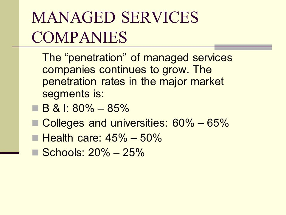 MANAGED SERVICES COMPANIES
