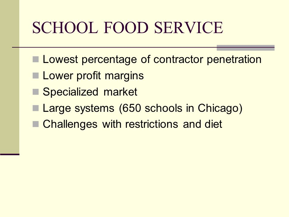 SCHOOL FOOD SERVICE Lowest percentage of contractor penetration