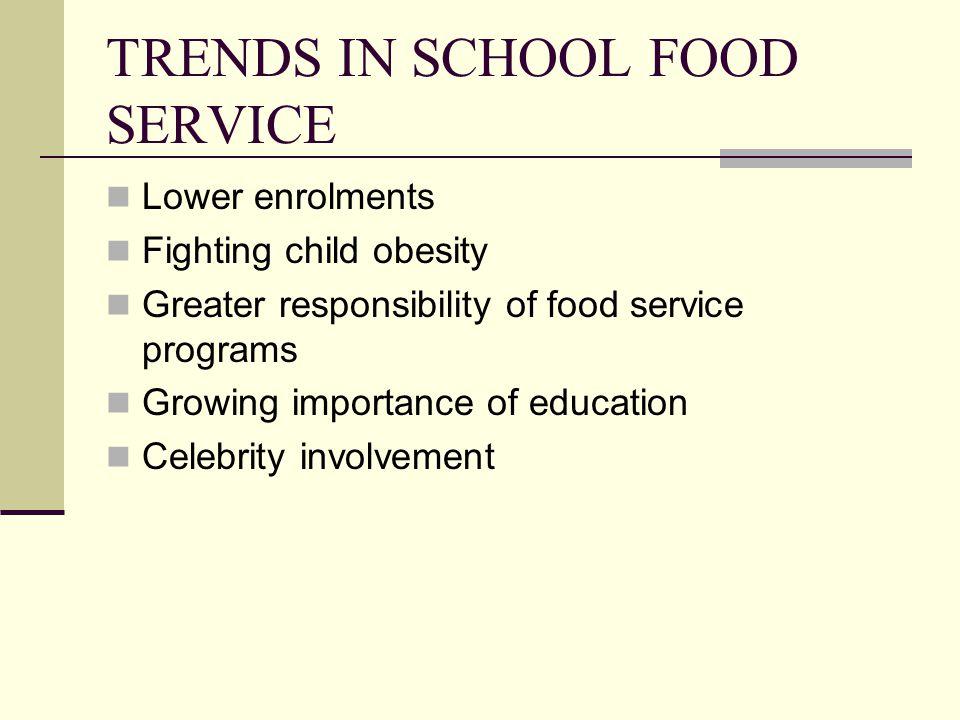 TRENDS IN SCHOOL FOOD SERVICE