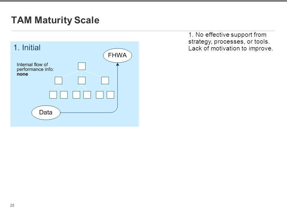 TAM Maturity Scale 1. No effective support from strategy, processes, or tools. Lack of motivation to improve.