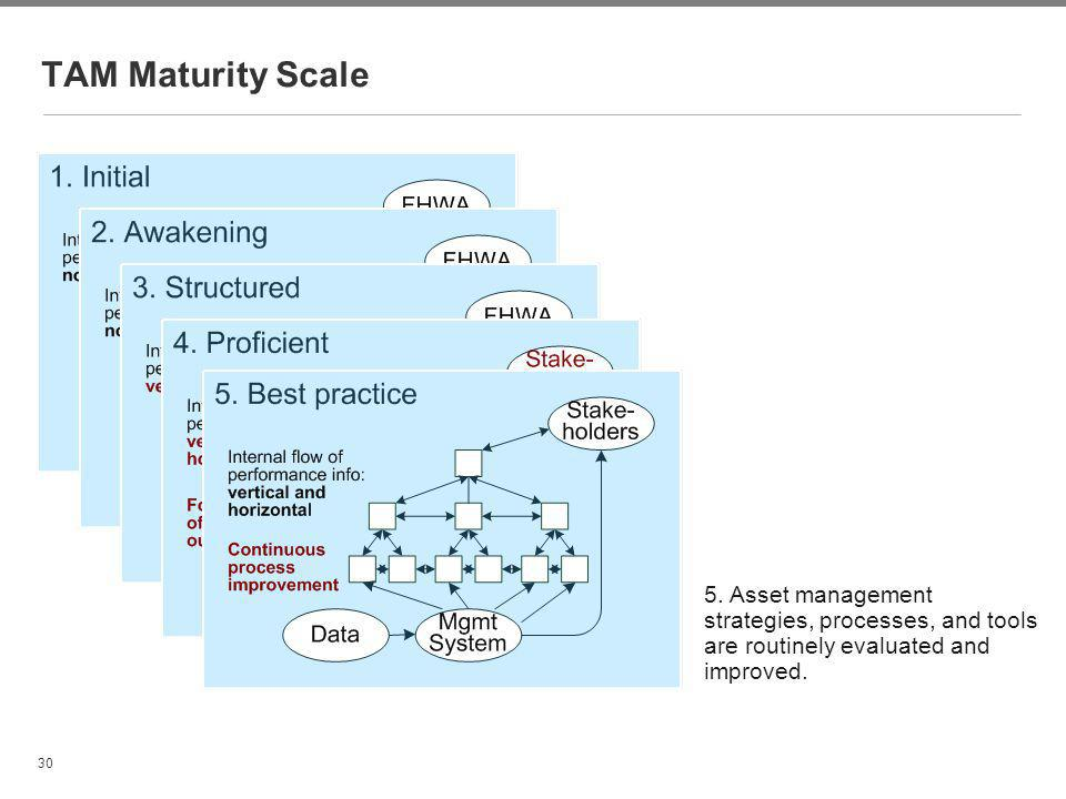TAM Maturity Scale Paul Thompson. 5. Asset management strategies, processes, and tools are routinely evaluated and improved.